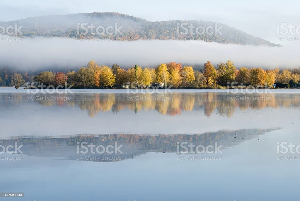 Mountain, Clouds, Water, Trees stock photo