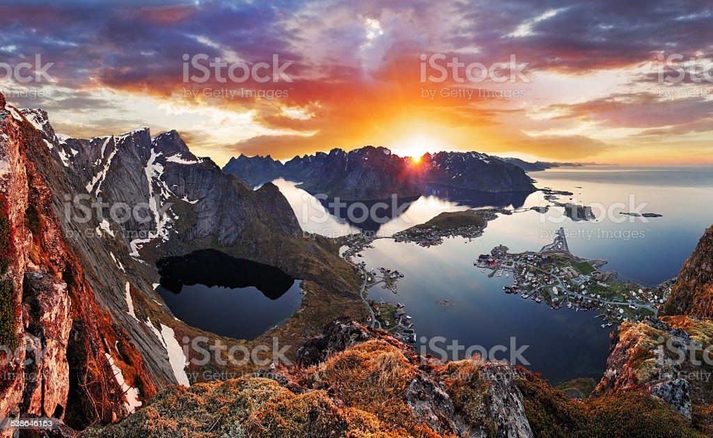 Mountain coast landscape at sunset, Norway stock photo