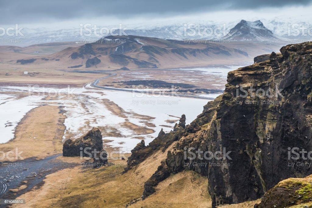 Mountain coastal landscape. Vik district, Iceland royalty-free stock photo