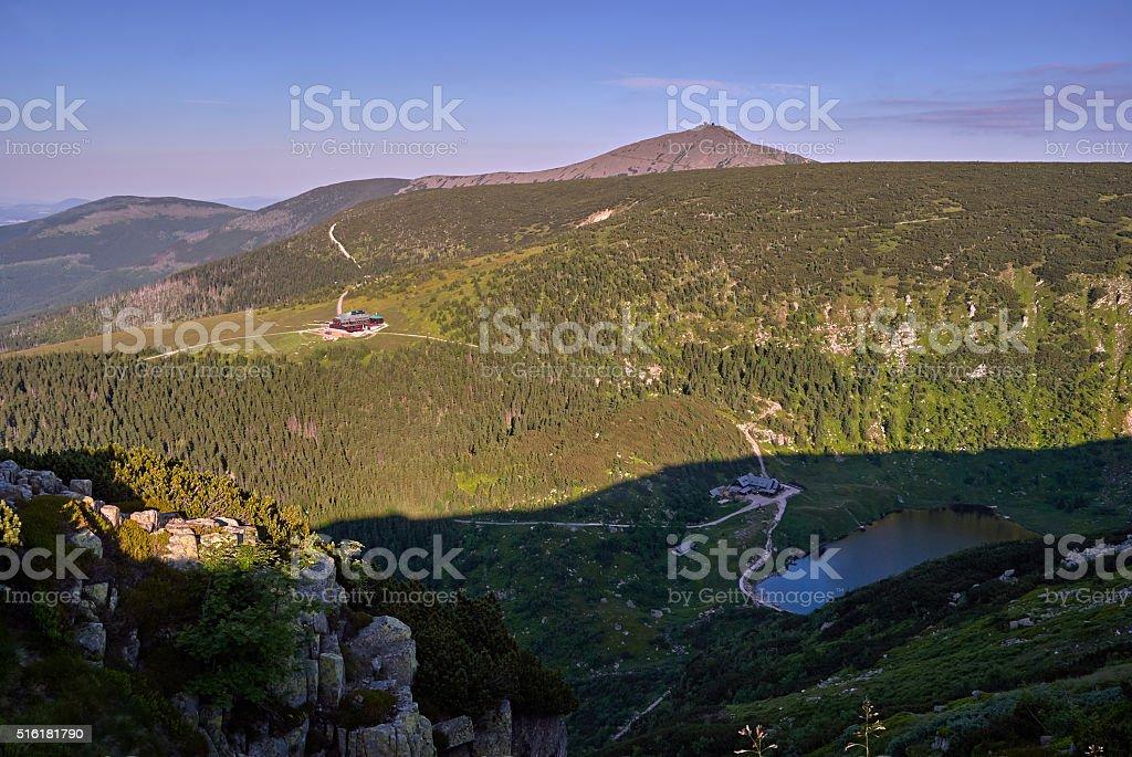 Mountain cottage in the Giant Mountains stock photo