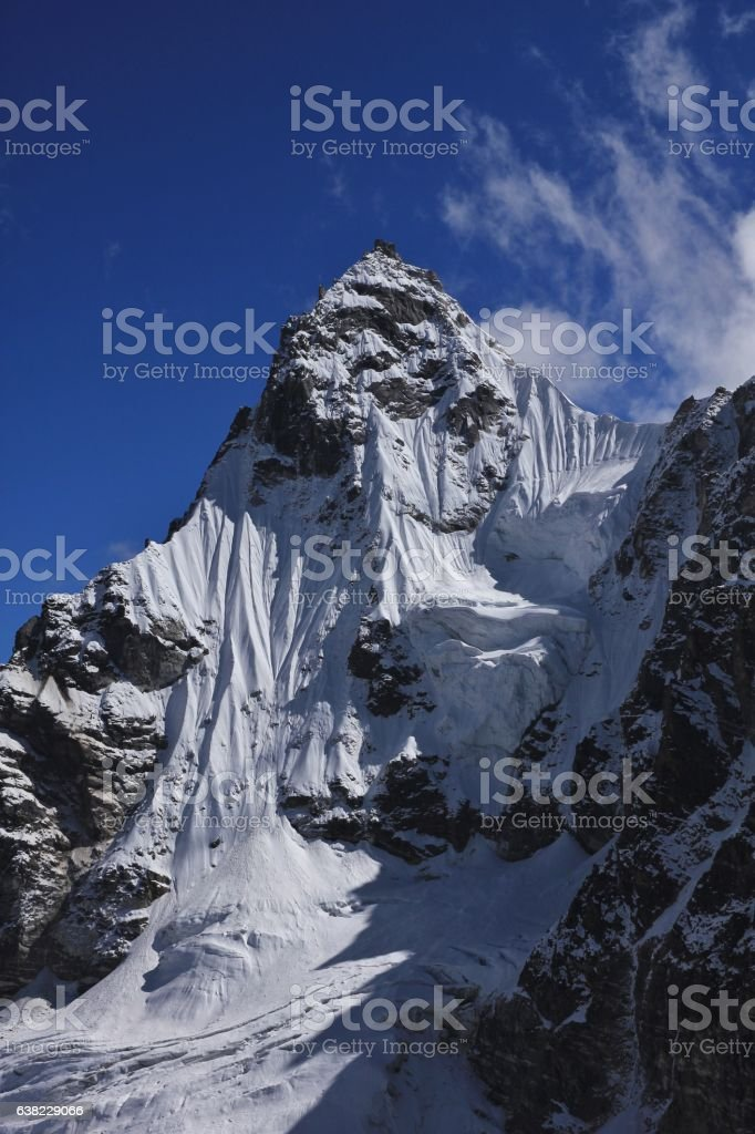 Mountain covered by glacier, view from Renjo La mountain pass stock photo