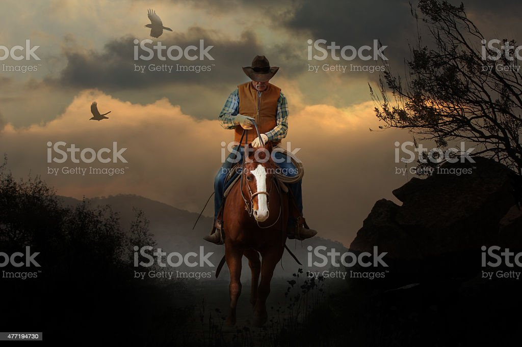 Mountain cowboy. stock photo
