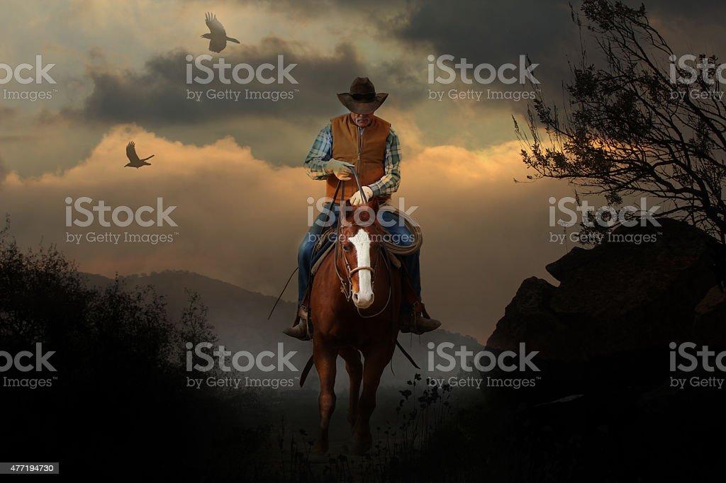 Mountain cowboy. stock photo