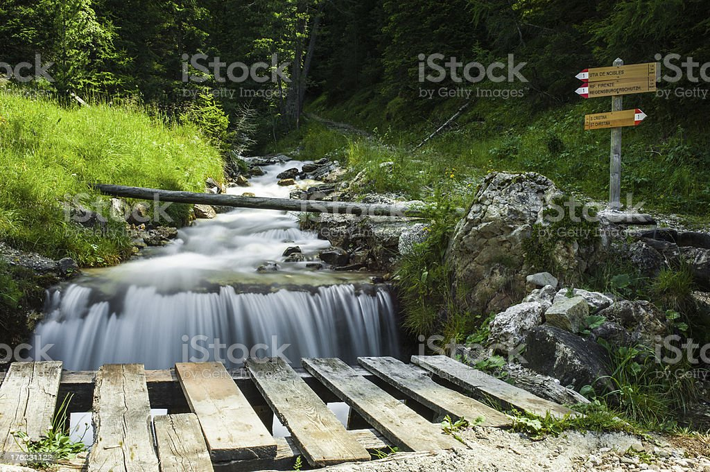 Mountain Creek and Trails in the forest of Puez-Odle Park royalty-free stock photo
