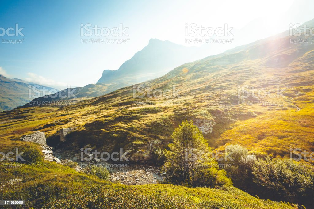 mountain creek at the peak of san bernardino pass, switzerland. stock photo
