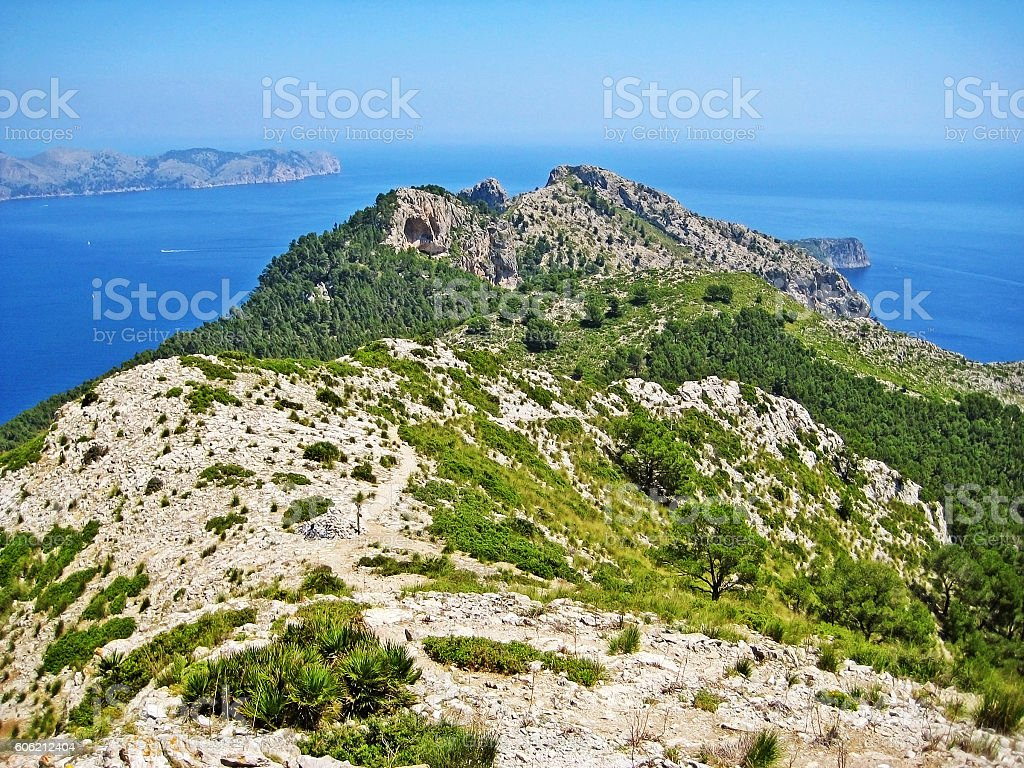 Mountain crest and ocean stock photo