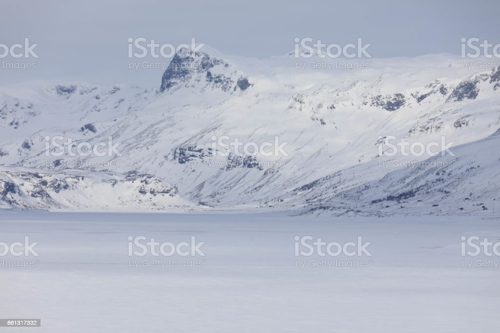 Mountain crossing Hol - Aurland at wine time. stock photo