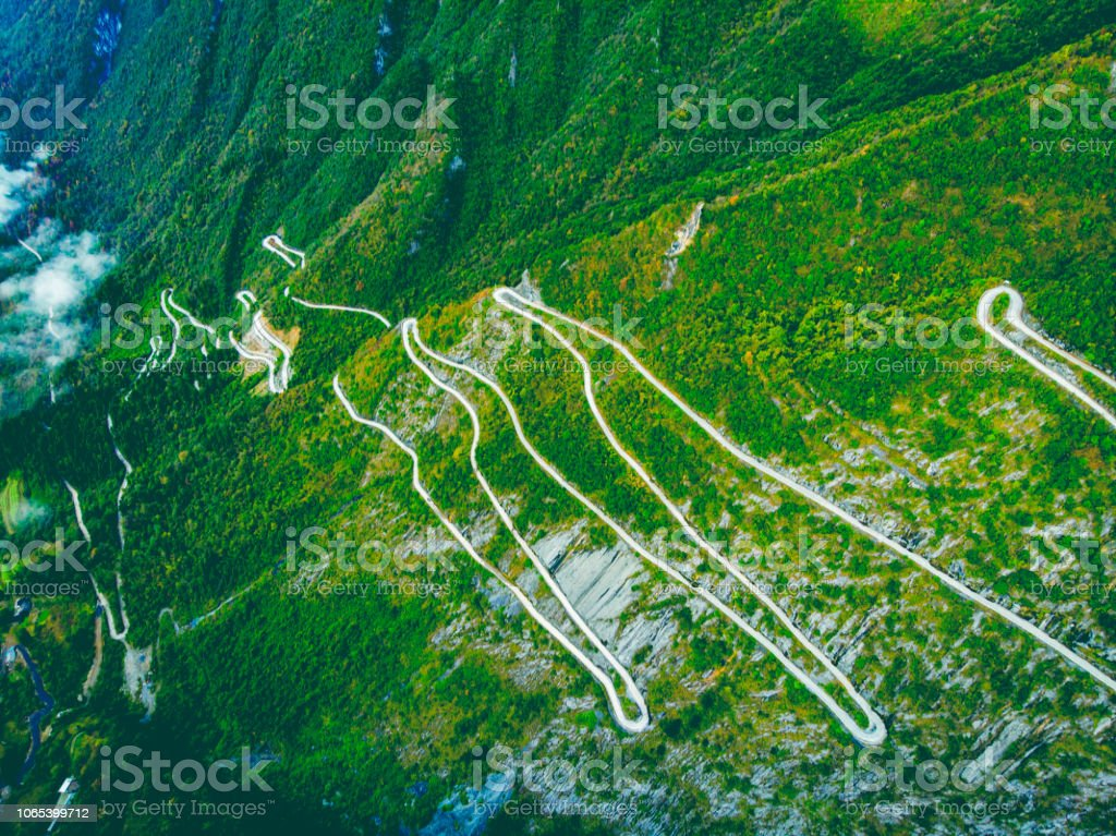 Mountain curve road aerial view