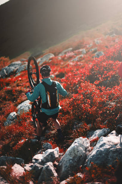 Mountain cycling Male and female bikers are having a ride through the rocky mountains. georgijevic mountain biker stock pictures, royalty-free photos & images