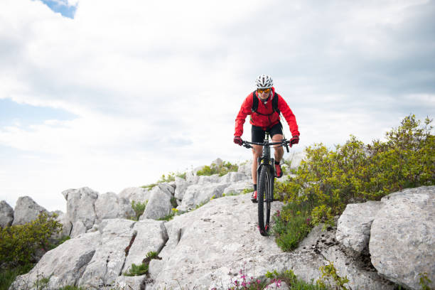 Mountain cycling Female biker is having a ride in the mountain. georgijevic mountain biker stock pictures, royalty-free photos & images