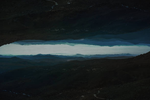 Mountain Double Exposure Landscape - Moody Scenescape stock photo