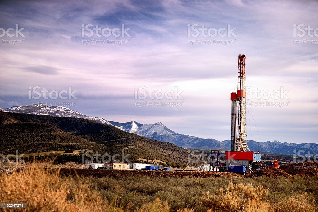 Mountain Drilling Fracking Rig stock photo