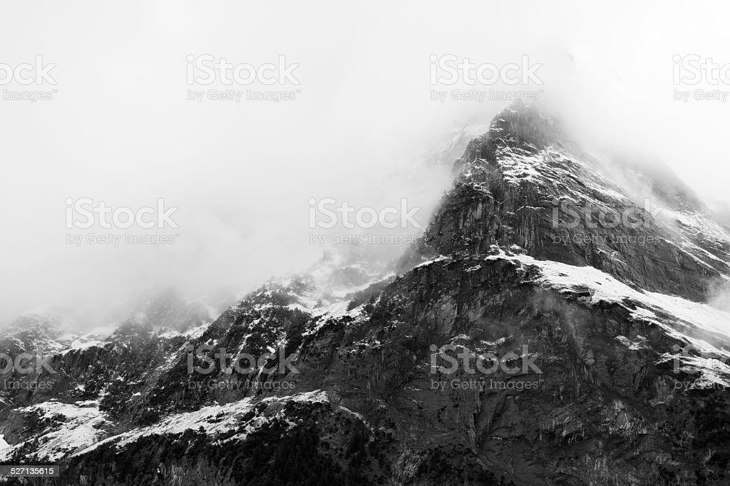 Mountain during sunrise stock photo