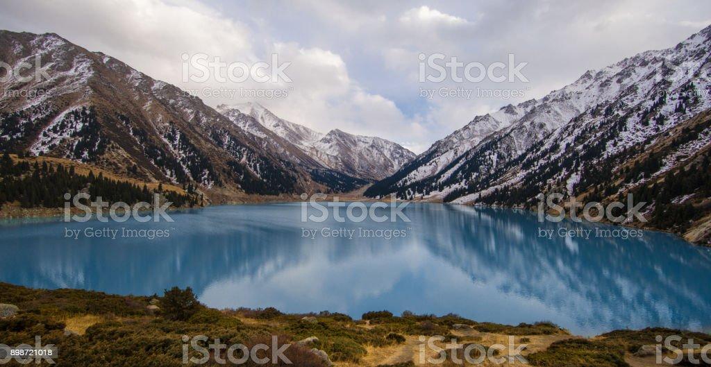 mountain emerald lake, Kazakhstan, Almaty stock photo