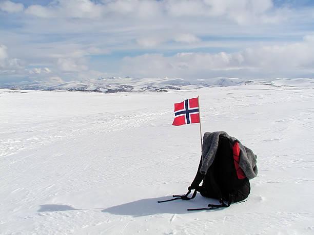 bergexpedition! - norwegen fahne stock-fotos und bilder