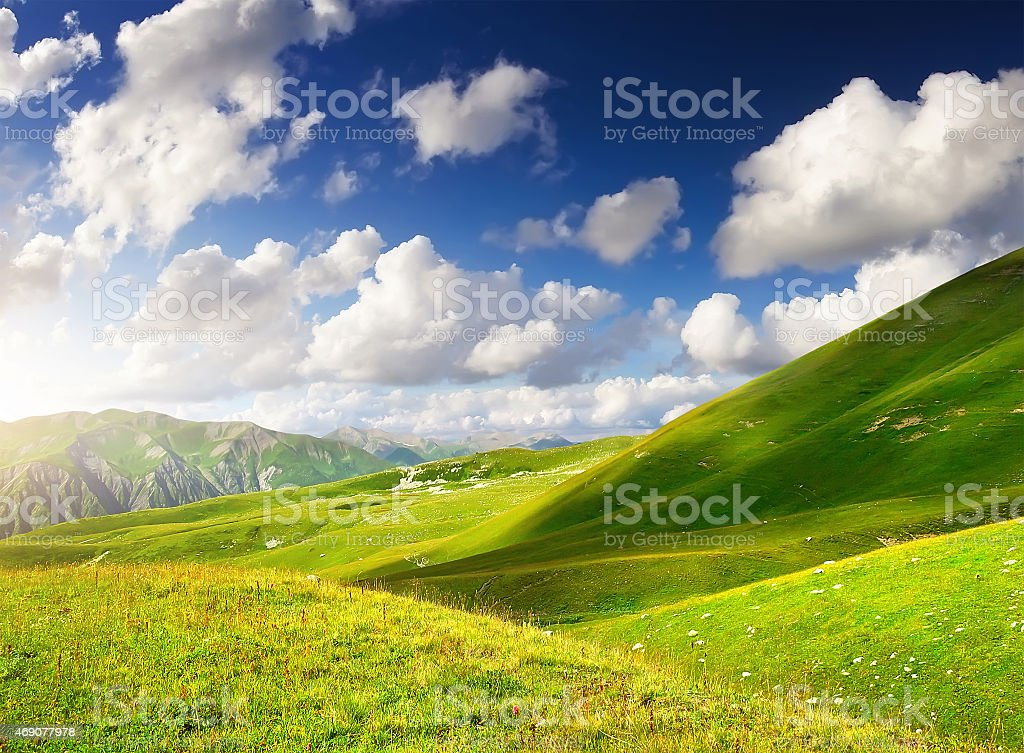 Mountain field stock photo
