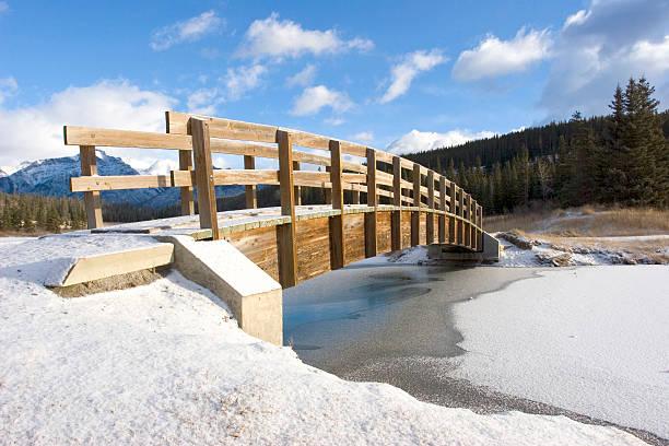 Mountain Footbridge in Winter stock photo