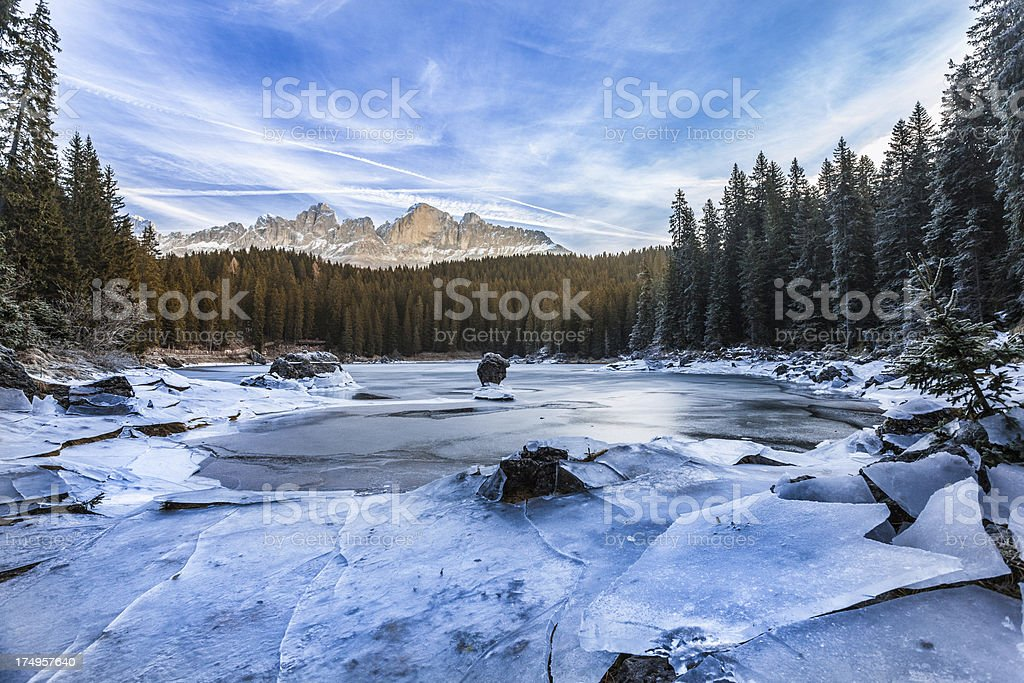 Mountain Frozen Lake of Carezza in the Dolomites, Italy stock photo