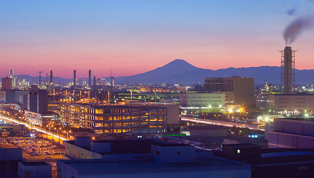 Mountain Fuji and Japan industry zone stock photo