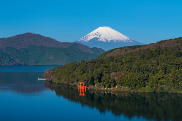 Mountain Fuji and Lake Ashi with Hakone Temple stock photo