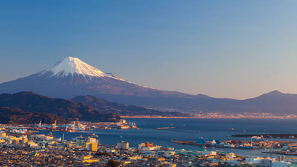 Mountain Fuji and Shimizu city in winter season stock photo