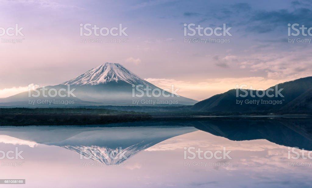 Mountain fuji at Motosu lake at sunrise royalty-free stock photo