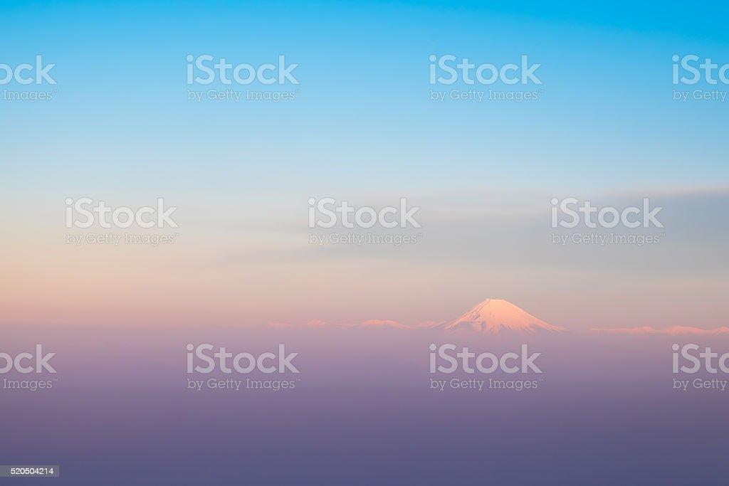 Mountain Fuji bird's eye view,  Shizuoka, Japan. stock photo