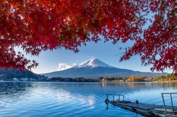 Mountain Fuji Colorful Autumn Season and Mountain Fuji lake kawaguchi stock pictures, royalty-free photos & images