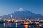 Mountain Fuji and Japan industry  zone in evening from Shizuoka prefecture