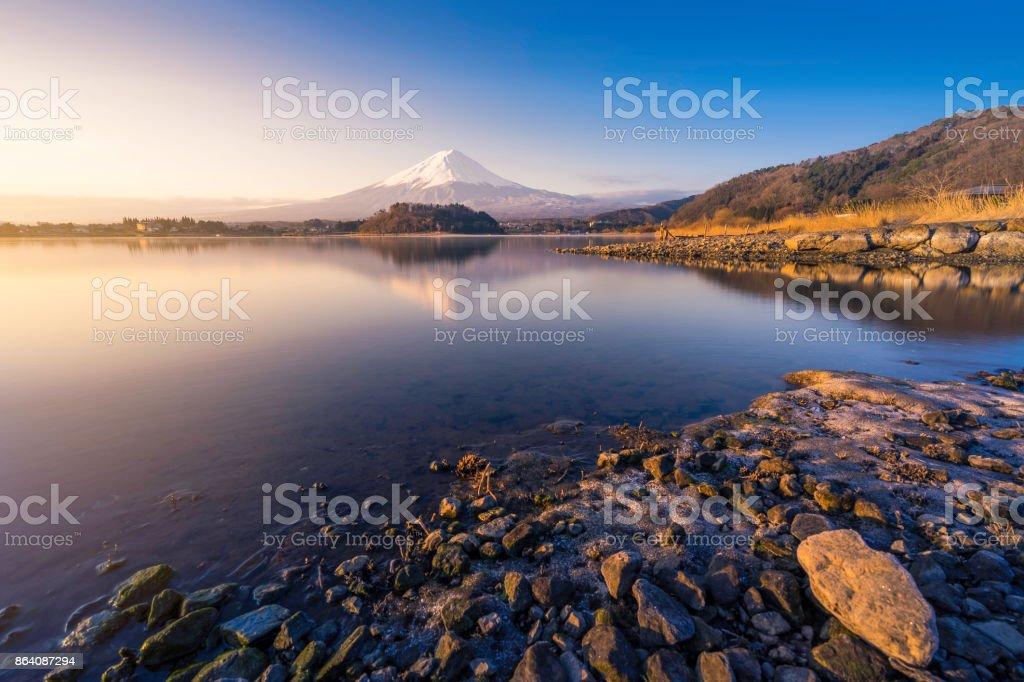 Mountain Fuji San at Kawaguchiko Lake in Japan. royalty-free stock photo