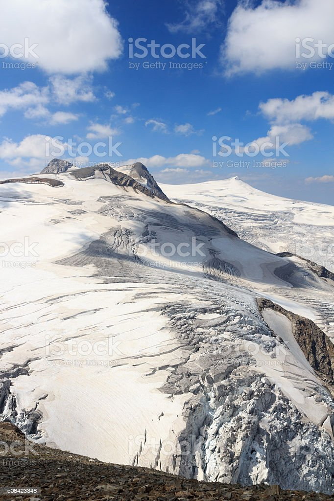 Mountain glacier panorama view with Großvenediger, Hohe Tauern Alps, Austria stock photo