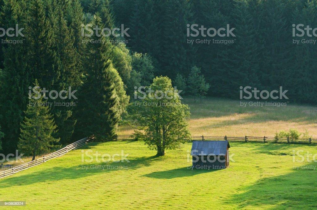 Mountain green valley stock photo