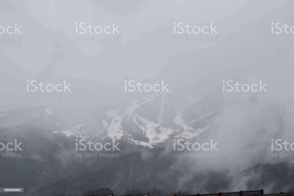 Mountain Haku and Daichigatake in Winter Spring - Royalty-free Horizontal Stock Photo