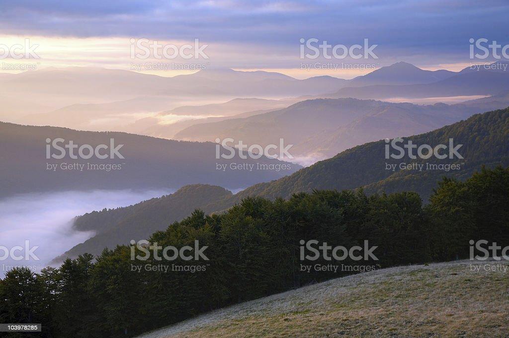 Mountain hazy daybreak royalty-free stock photo