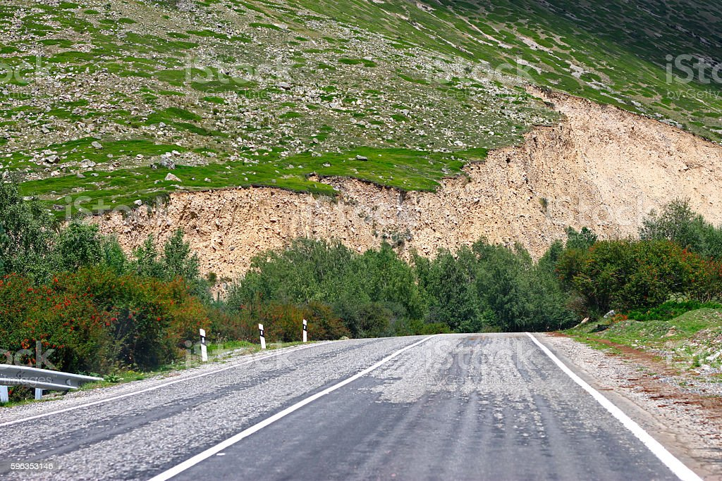 Mountain highway and landscape. North Caucasus travel royalty-free stock photo