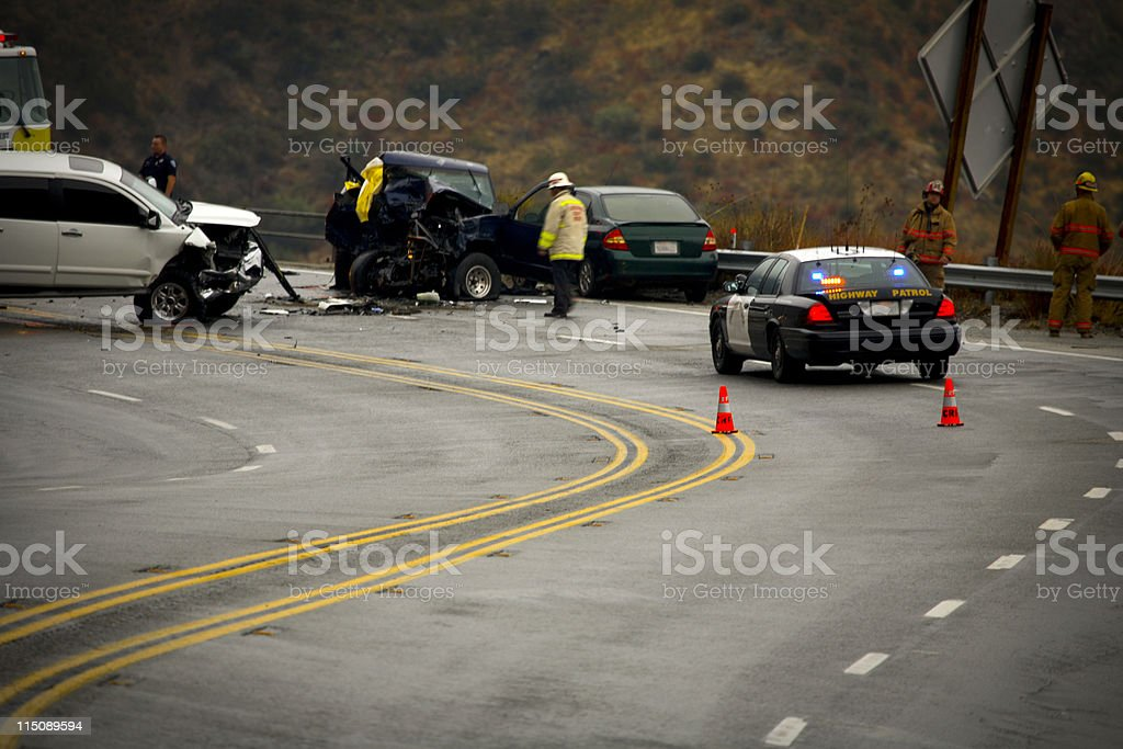 mountain highway - auto accident fatality stock photo