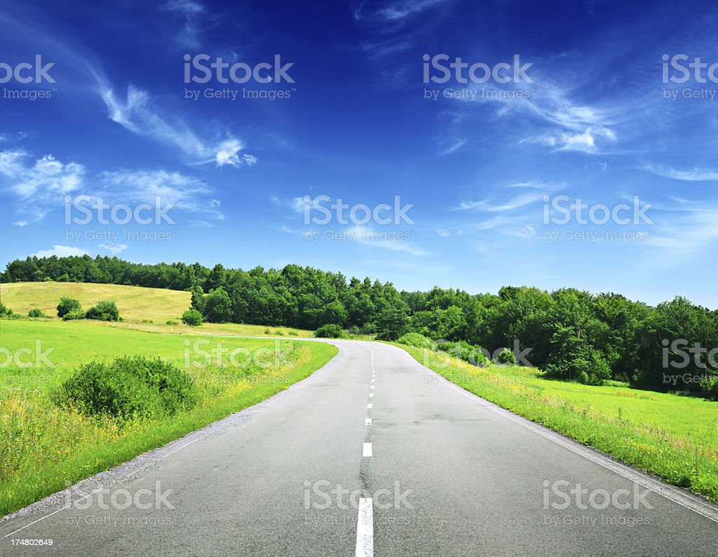 Mountain Highway through the Summer Landscape royalty-free stock photo