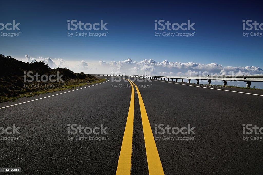 Mountain Highway towards the Clouds,Haleakala,Maui,Hawaii stock photo