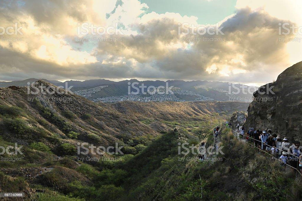 Mountain Hike at Sunrise stock photo