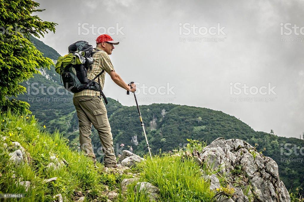 Mountain hiking in Austria stock photo