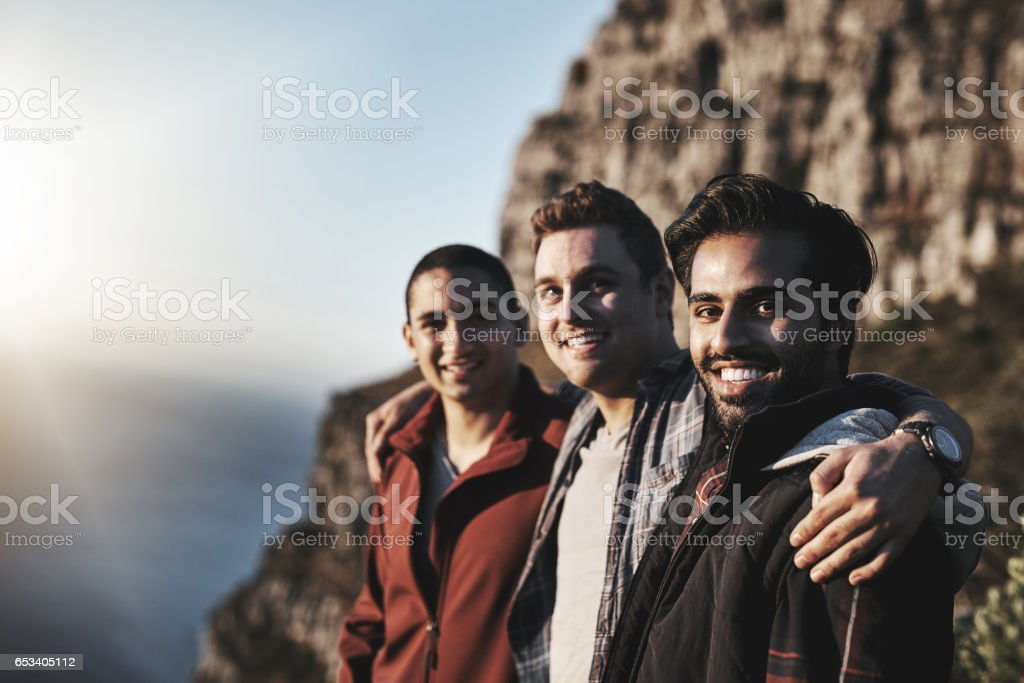 Mountain hiking is just what we do stock photo