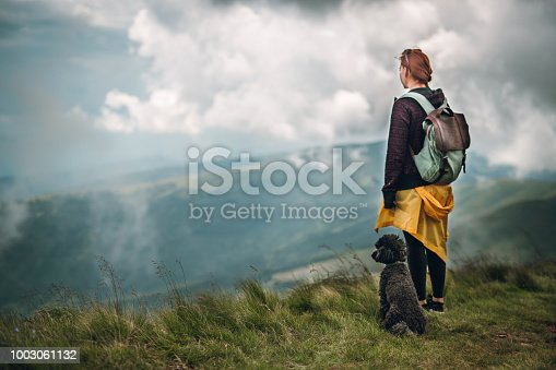 Mountain hiking with a dog