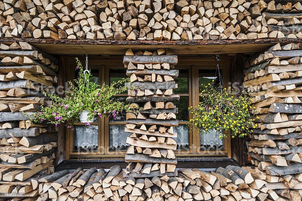 Mountain Hut detail stock photo