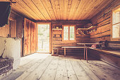 Interior of an old rustic abandoned alpine chalet in Austria