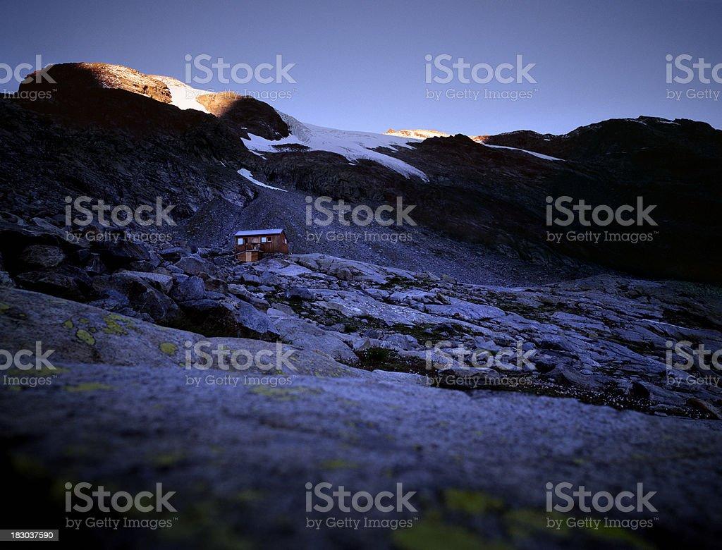 Mountain hut in barren landscape, Switzerland. royalty-free stock photo