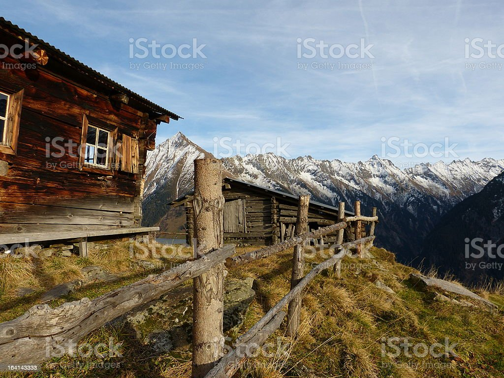 Mountain hut in the Alps stock photo