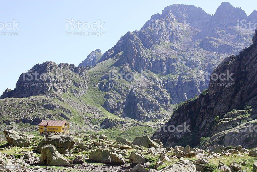 Mountain hut in the Italian Alps (rifugio Genova) stock photo
