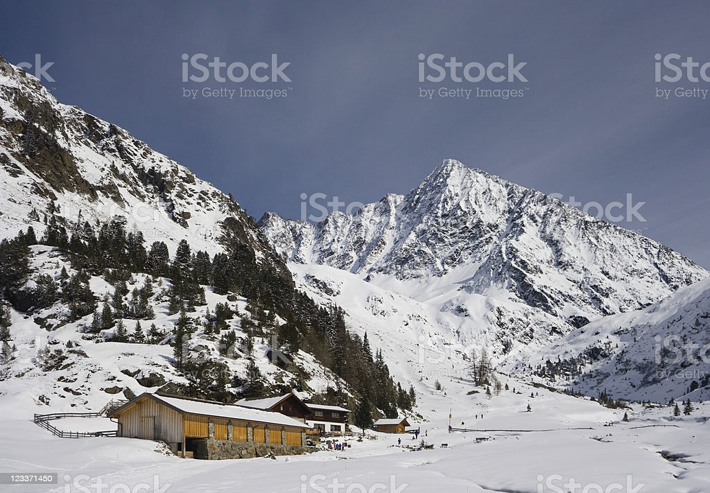 Mountain Hut In Winter Landscape royalty-free stock photo
