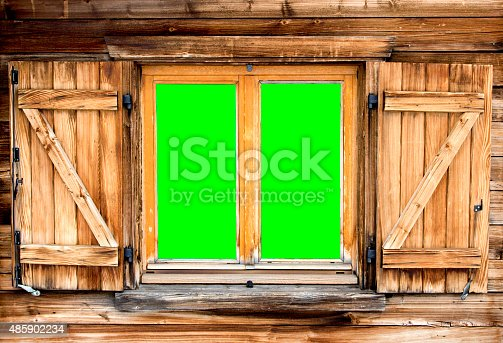 Mountain Hut Window Green Screen Stock Photo & More Pictures of 2015   iStock
