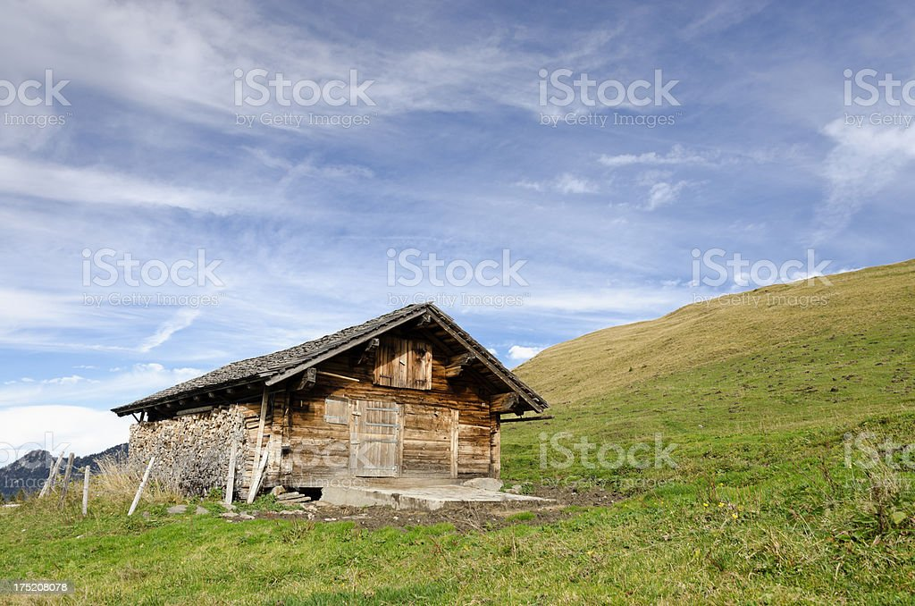Mountain hut with copy space royalty-free stock photo